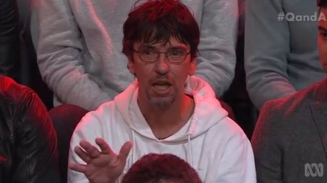 Duncan Storrar asks his question on Q&A