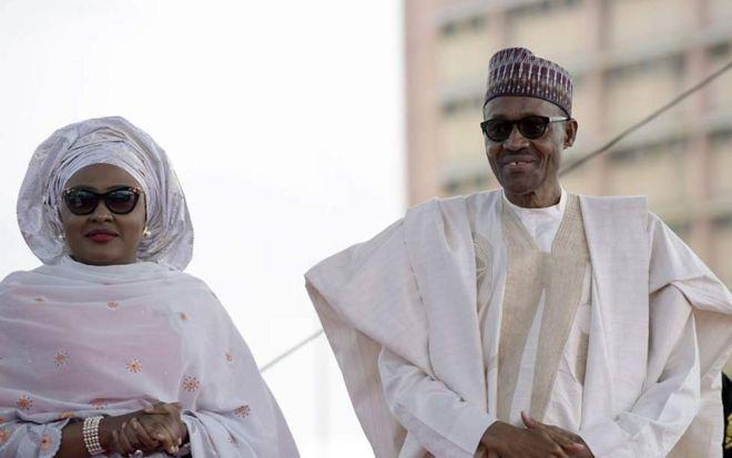 Rais Buhari na mkewe Aisha