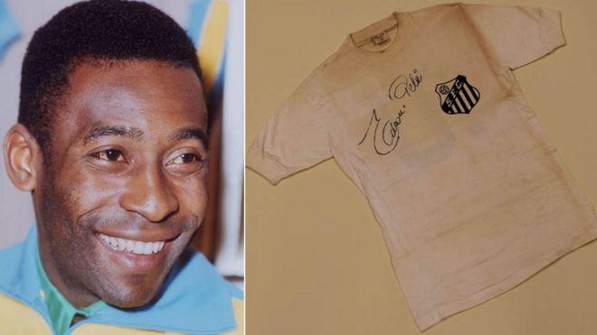 Pele and the signed Santos Shirt