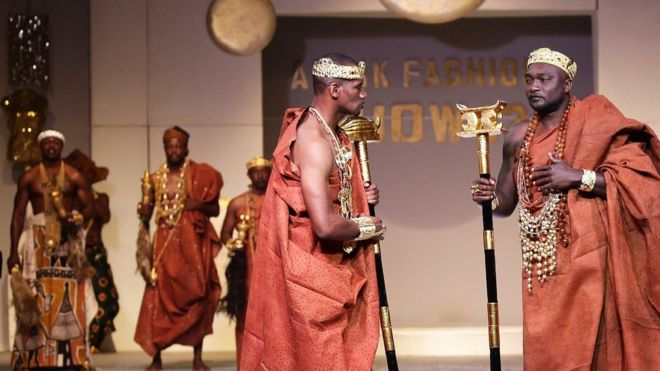 Models presents creations by Ivorian designer Miss Zahui during the Afrik Fashion Show in Abidjan 07/10/2017