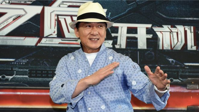 Hong Kong actor Jackie Chan, in a martial arts pose, during a press conference to announce the start of production of Bleeding Steel. Sydney, Australia, 28 July 2016.