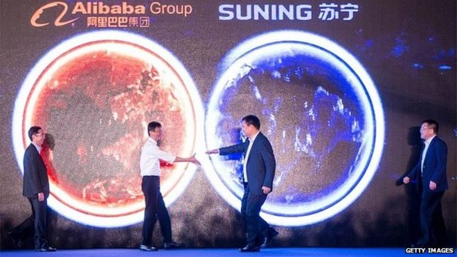 Alibaba boss with Suning chairman