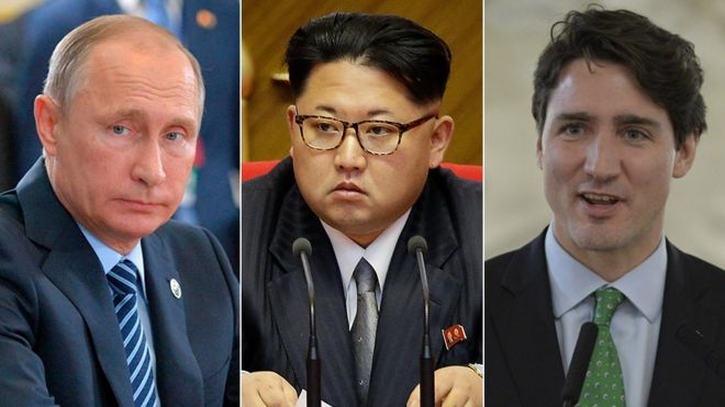 Russian President Vladimir Putin (left), North Korean leader Kim Jon-un (centre) and Canadian Prime Minister Justin Trudeau (right)