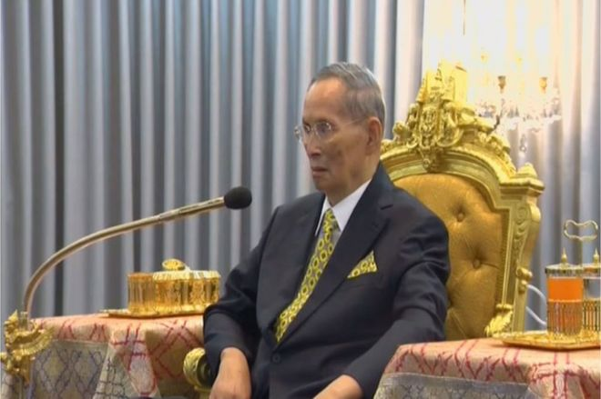 Thailand's King Bhumibol Adulyadej is seen attending a ceremony in Bangkok, Thailand 14 December 2015 in this still image taken from Thai TV Pool video.