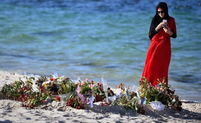 Flowers laid on Marhaba beach
