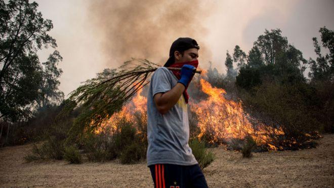 Chileno en incendio