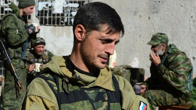 File pic of Givi, separatist commander outside Donetsk on October 9, 2014