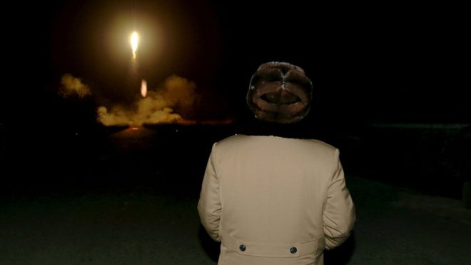 "North Korean leader Kim Jong Un watches the ballistic rocket launch drill of the Strategic Force of the Korean People""s Army (KPA) at an unknown location, in this undated file photo released by North Korea""s Korean Central News Agency (KCNA) in Pyongyang on 11 March 2016."