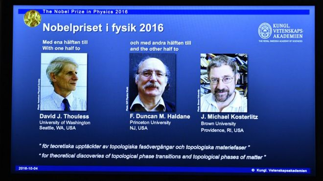 NobelPrize in Physics 2016 to David Thouless, Duncan Haldane and Michael Kosterlitz