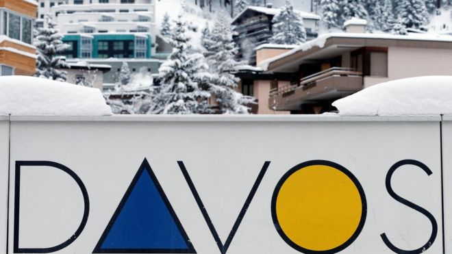 A Davos logo is seen before the annual meeting of the World Economic Forum