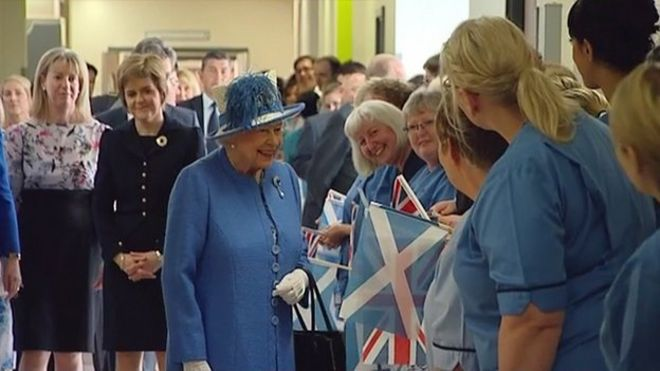 The Queen met patients and staff on a tour of the new  </p> <div class=