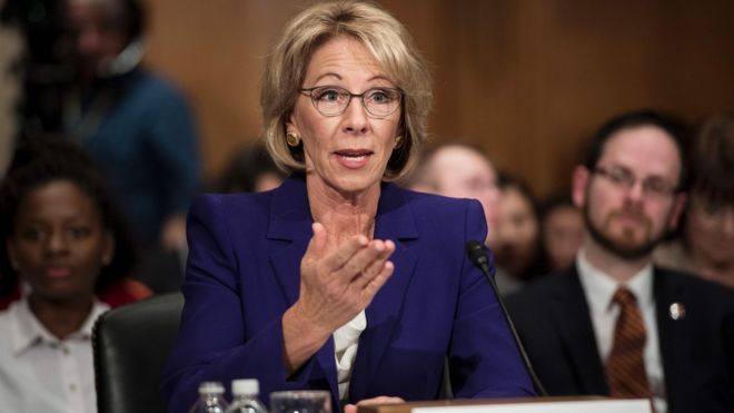Betsy DeVos speaks during her confirmation hearing for Secretary of Education before the Senate Health, Education, Labor, and Pensions Committee on Capitol Hill January 17, 2017 in Washington, DC