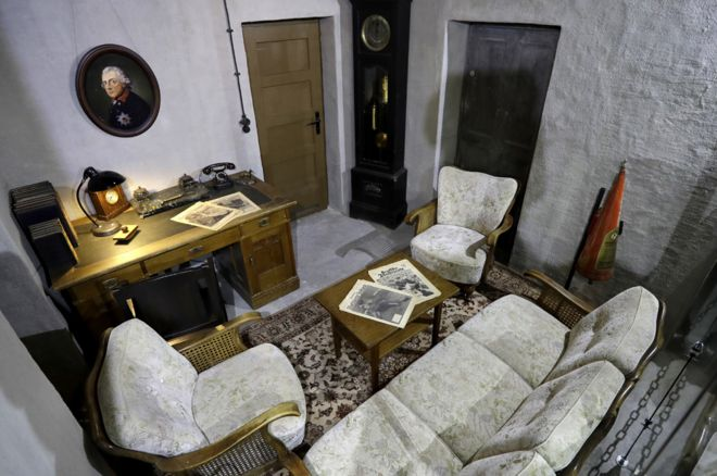 A mock-up of Hitler's living room-cum-office (AP pic)