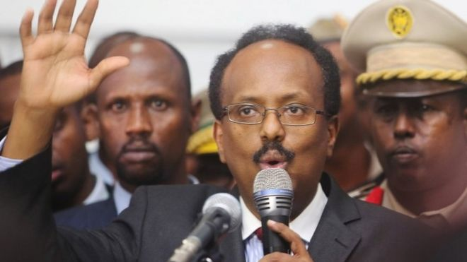 President Mohamed Abdullahi Farmajo addresses lawmakers after winning the vote at the airport in Somalia