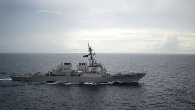Guided-missile destroyer USS Decatur (DDG 73) operates in the South China Sea as part of the Bonhomme Richard Expeditionary Strike Group (ESG) in the South China Sea on October 13, 2016
