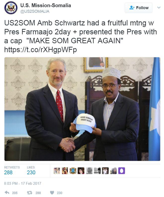 Screengrab of tweet by the US Mission to Somalia