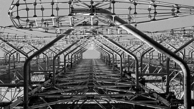 Duga-3 Soviet radar antenna a few kilometres near Chernobyl
