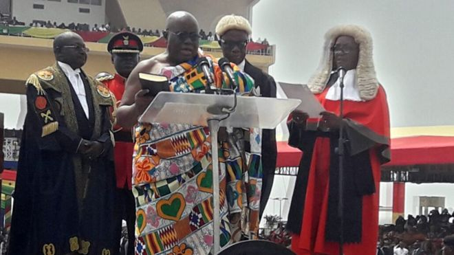 Ghana's President-elect Nana Akufo-Addo takes the oath of office during the swearing-in ceremony at Independence Square, Accra, 7 January 2016