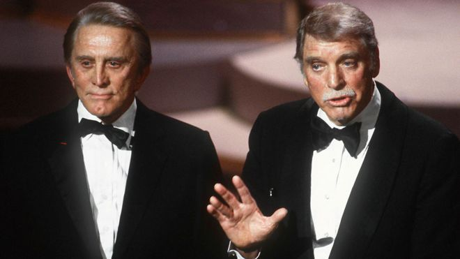 Kirk Douglas with Burt Lancaster in 1985