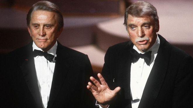Kirk Douglas with Burt Lancaster in 1985