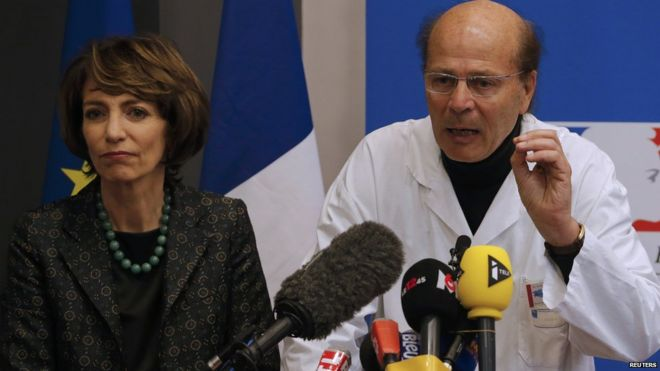 French Health Minister Marisol Touraine and Gilles Hedan, professor of clinical neurology, attend a news conference in Rennes, France, January 15, 2016