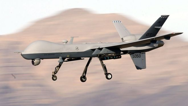 An MQ-9 Reaper remotely piloted aircraft (RPA) flies by during a training mission
