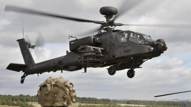 Army Apache attack helicopter on training exercise