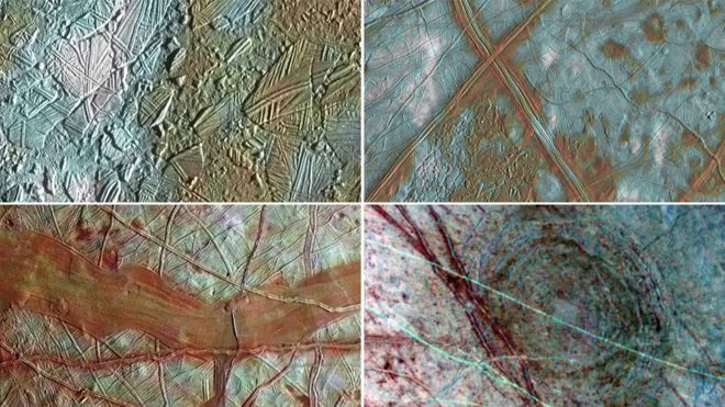 Four views of Europa's surface