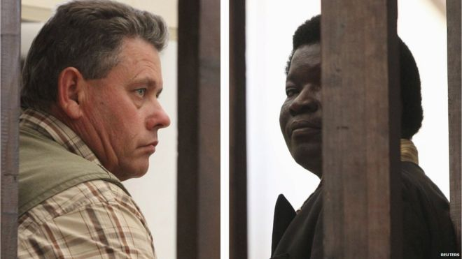 Hunter Theo Bronkhorst (left) and landowner Honest Ndlovu are facing poaching charges