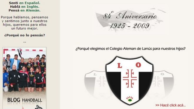 Webpage of Lanus Oeste German School in Buenos Aires