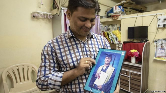 Sunil Yadav has four degrees but is forced to remain a conservancy worker