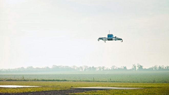 亚马逊首次在英国完成网购无人机送货服务
