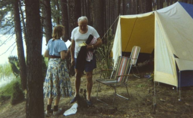 Outside camping tent in Poland in the summer of 1978