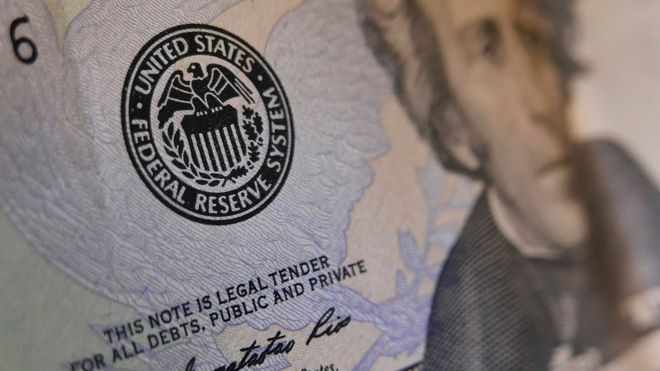 US bank note with Federal Reserve seal