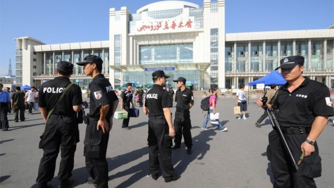 Heavy security in the Xinjiang region. (Photo courtesy of BBC)