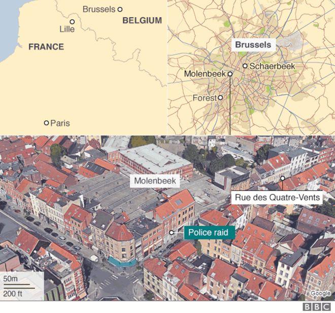 Map of police raid location