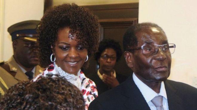 Grace Mugabe na mumewe rais wa Zimbabwe Robert Mugabe
