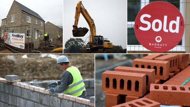 """Images of housebuilding (clockwise from top left): house under construction; digger; """"sold"""" sign; bricks; bricklayer"""