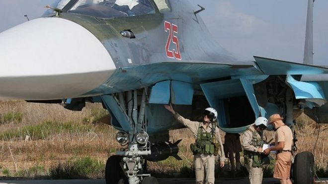 Russian military personnel check a Russian combat aircraft at Hmeymim air base, Syria. Photo: 3 October 2015