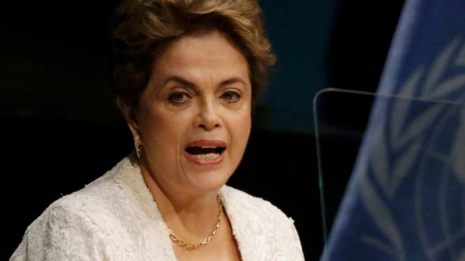 Brazilian President Dilma Rousseff during speech at the UN
