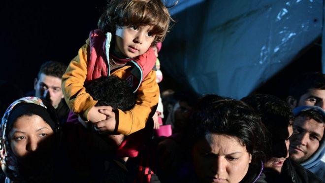 Migrants near the Greece-Macedonia border
