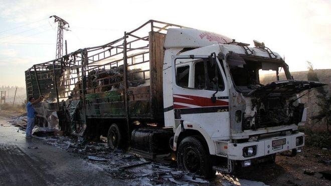 AFP Отправка всех гуманитарных конвоев в Сирию приостановлена после налета по решению ООН
