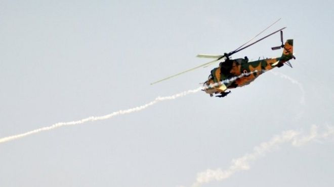A Syrian military helicopter. File photo