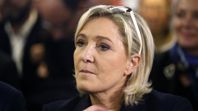 President of French far-right Front National (FN) party Marine Le Pen attends a meeting on the theme 'Ecology and development' on 2 December 2016 in Paris,