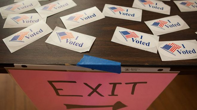 Stickers for voters are seen at a polling place inside Northfield Town Hall on March 01, 2016 in Northfield, Massachusetts.