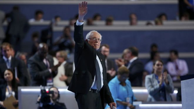 bernie sanders waves following his speech at the DNC