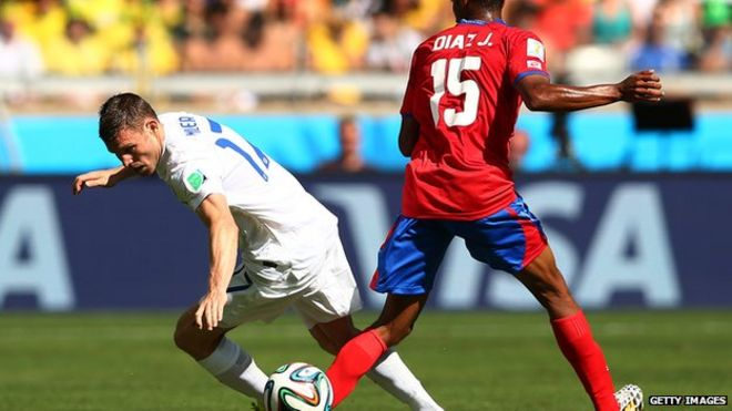 England play Costa Rica in a 2014 World Cup match in Brazil