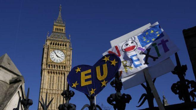 Protesto contra o Brexit no centro de Londres