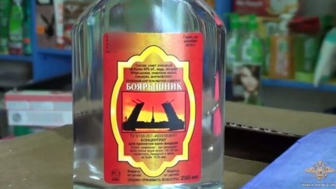 A bottle of hawthorn bath essence, confiscated during an operation checking all private stores selling alcohol in Irkutsk, Russia (19 December 2016)