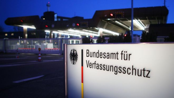This file photo taken on February 4, 2014 shows the headquarters of a German domestic intelligence (Federal Office for the Protection of the Constitution) (Bundesamt fuer den Verfassungsschutz), in Cologne.